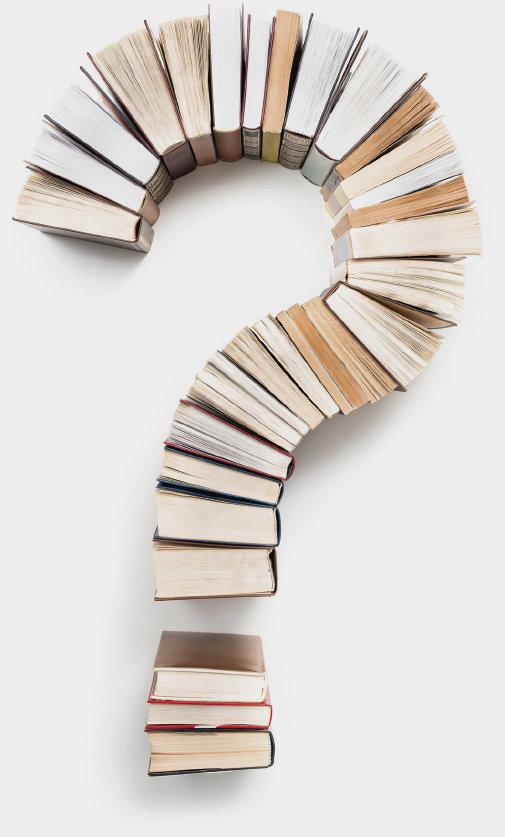 Kirjat on asetettu kysymysmerkin muotoon.
